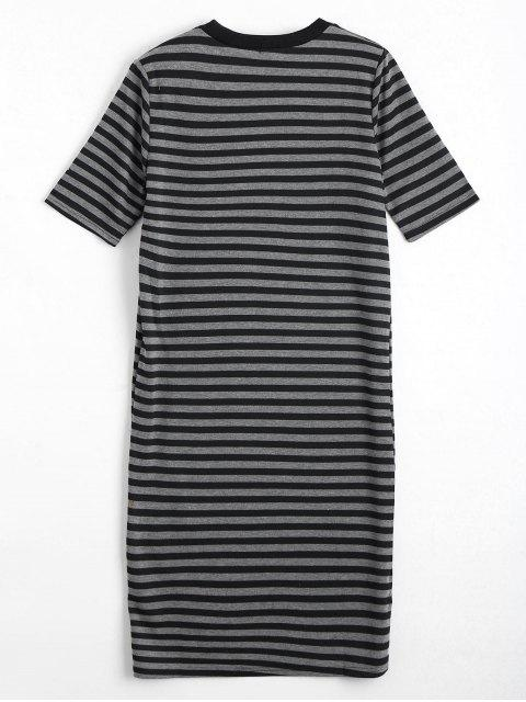 outfits Striped Casual Slit Shift Dress - STRIPE ONE SIZE Mobile