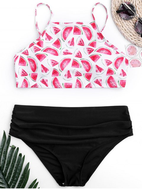 fancy Ruched Watermelon High Cut Bikini - BLACK S Mobile