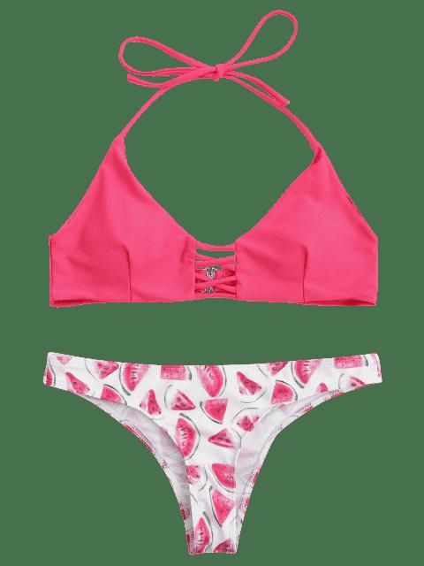 unique Cut Out Watermelon Strappy Bikini - PINK L Mobile