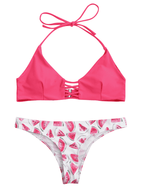 affordable Cut Out Watermelon Strappy Bikini - PINK S Mobile
