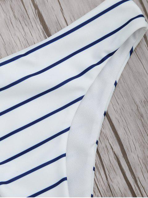 Traje de Bikini con Cuello en U con Relleno a Rayas - Azul y Blanco M Mobile