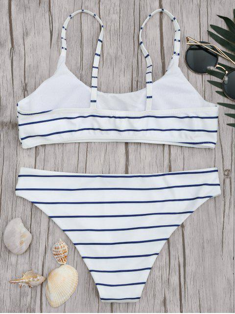 outfit Padded Striped Bralette Scoop Bikini Set - BLUE AND WHITE M Mobile