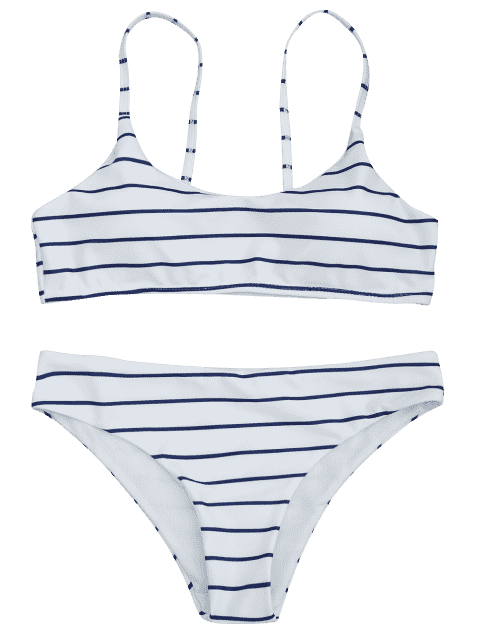 outfits Padded Striped Bralette Scoop Bikini Set - BLUE AND WHITE S Mobile
