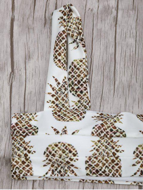 latest Square Neck Pineapple Print Bikini Set - WHITE S Mobile
