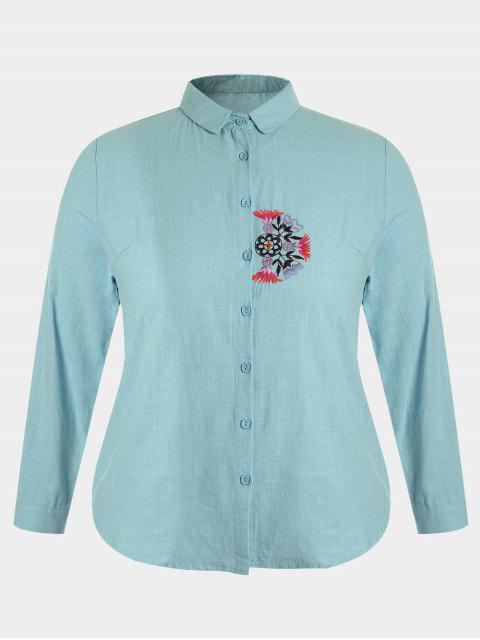 new Plus Size Embroidered Single Breasted Shirt - BLUE GREEN 4XL Mobile
