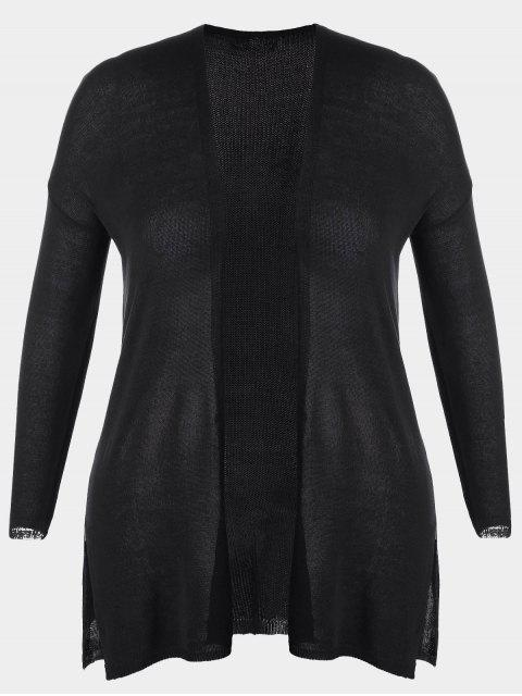 sale Open Front Plus Size Slit Cardigan - BLACK 2XL Mobile