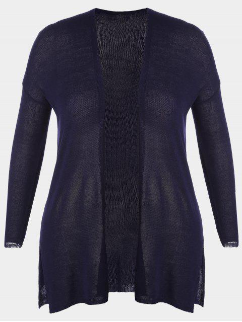 women Open Front Plus Size Slit Cardigan - PURPLISH BLUE 3XL Mobile