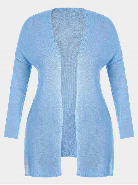 new Open Front Plus Size Slit Cardigan - LIGHT BLUE 3XL Mobile