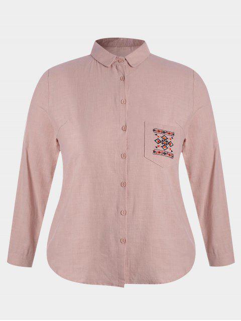 Gestickte Übergröße Bluse mit Tasche - Rosa 4XL Mobile