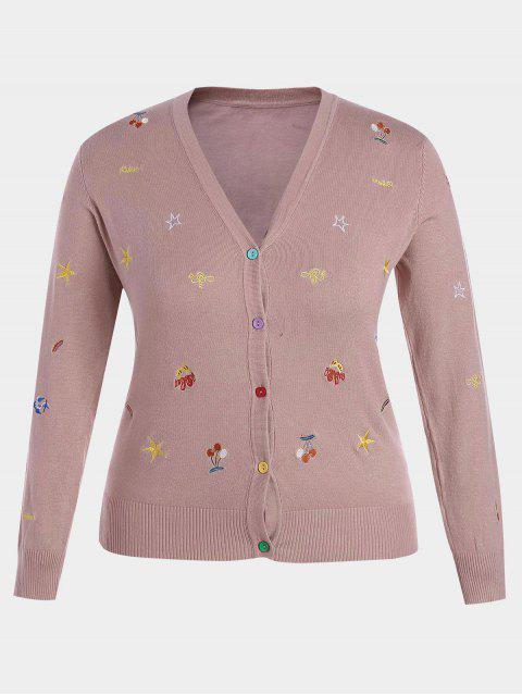 hot Plus Size Embroidered Knitwear - PINK 4XL Mobile