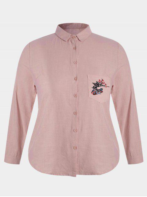 buy Plus Size Pocket Embroidered Shirt - PINK 4XL Mobile