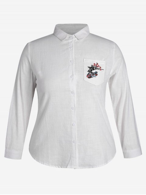 outfit Plus Size Pocket Embroidered Shirt - WHITE 4XL Mobile
