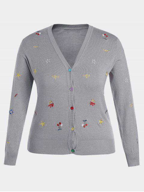 trendy Plus Size Embroidered Knitwear - GRAY 3XL Mobile