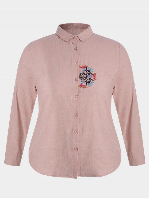 sale Plus Size Embroidered Single Breasted Shirt - PINK 2XL Mobile