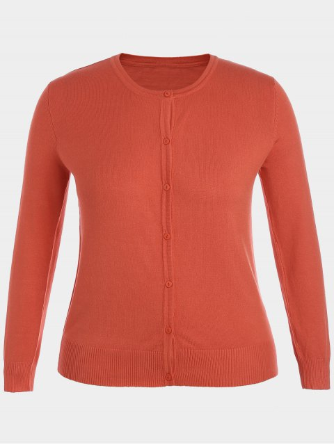 women Plus Size Single Breasted Knitwear - ORANGE 3XL Mobile