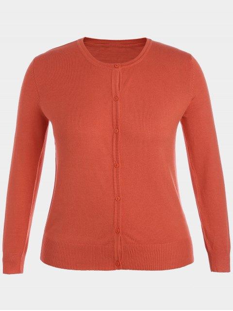 women's Plus Size Single Breasted Knitwear - ORANGE 2XL Mobile