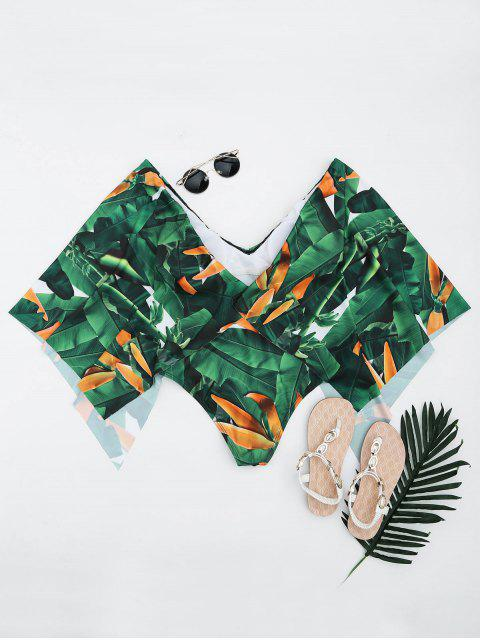outfits Palm Leaf Batwing Sleeve Plus Size Cape Swimwear - GREEN 5XL Mobile