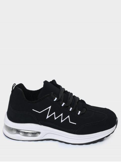 chic Air Cushion Embroider Line Athletic Shoes - BLACK 37 Mobile