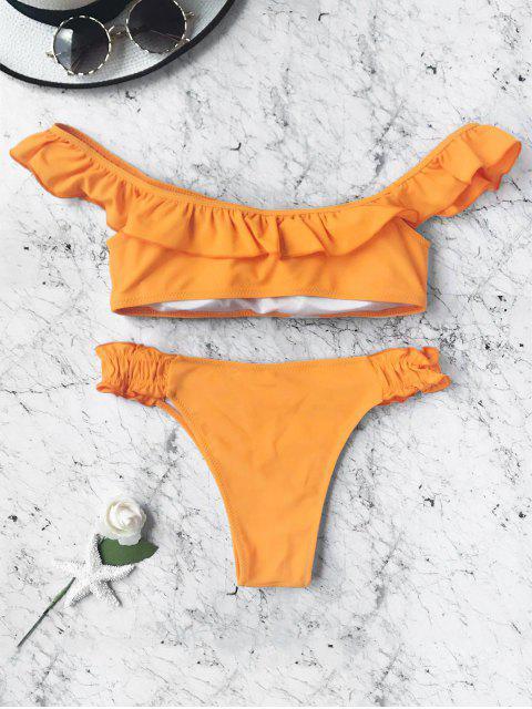 trendy Padded Frilled Off The Shoulder Bikini Set - ORANGE M Mobile