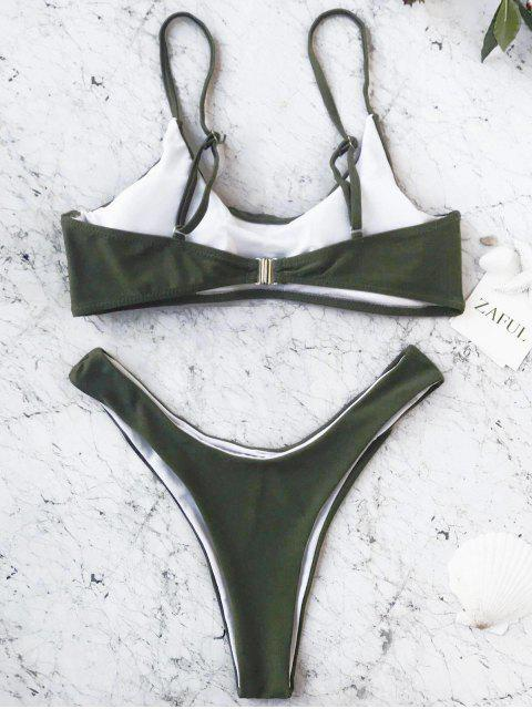 chic Cami Padded Bralette Thong Bathing Suit - GREEN L Mobile