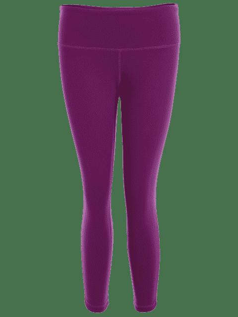 fancy Capri Mesh Cropped Athletic Leggings - PURPLISH RED L Mobile