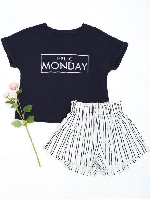 Loungewear Grafik Top mit gestreiften Shorts - Schwarzblau XL Mobile