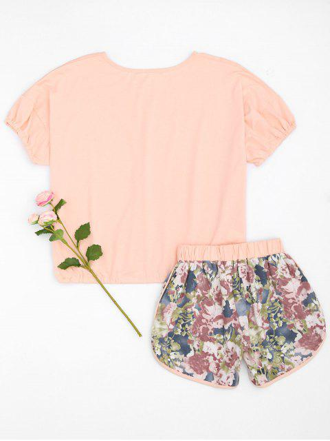 women's Loungewear Top with Floral Dolphin Shorts - PINK L Mobile