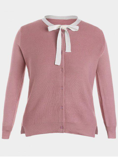 lady Side Slit Bow Tie Plus Size Knitwear - PINK 2XL Mobile