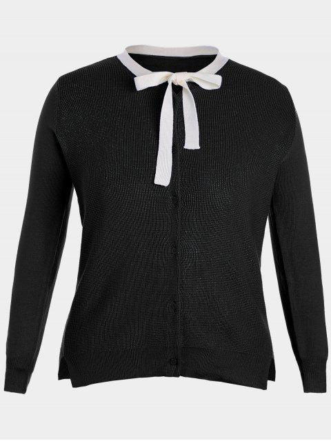 ladies Side Slit Bow Tie Plus Size Knitwear - BLACK 4XL Mobile