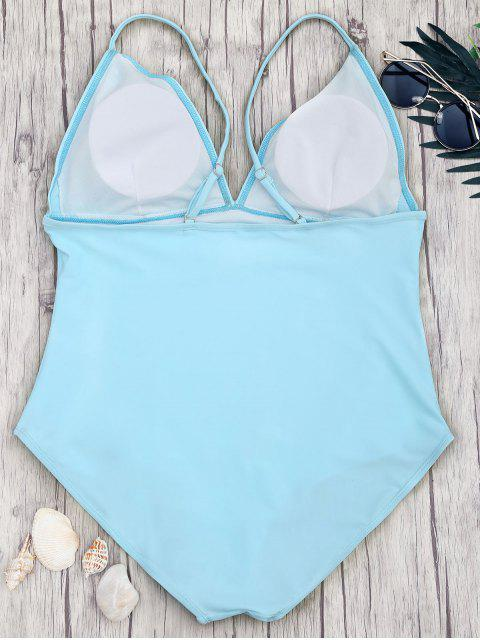 hot Shaping Plus Size V Neck One Piece Swimsuit - BLUE 3XL Mobile