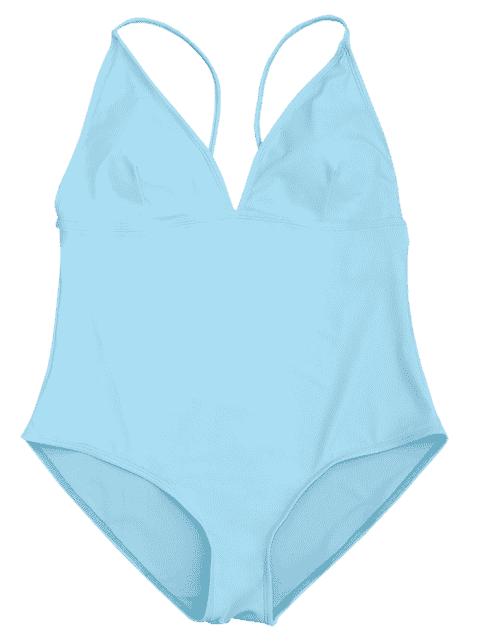 Shaping Plus Size V Neck One Piece Swimsuit - Bleu 2XL Mobile