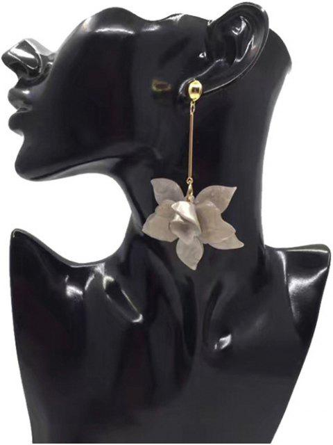 fancy Stereo Floral Design Pendant Drop Earrings - SMOKY GRAY  Mobile