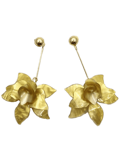 sale Stereo Floral Design Pendant Drop Earrings - YELLOW  Mobile