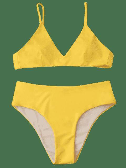 new Spaghetti Strap High Waist Bikini Set - YELLOW S Mobile