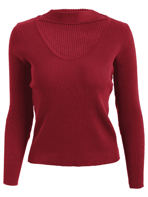 trendy Choker Ribbed Knitwear - WINE RED L Mobile