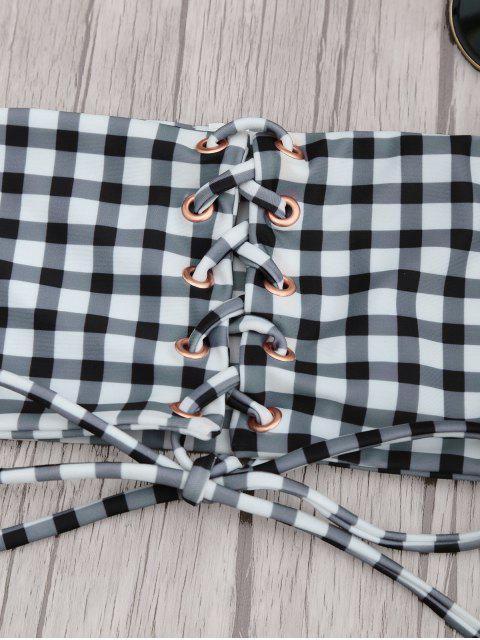 ladies Gingham Lace Up Bandeau Bikini Set - WHITE AND BLACK M Mobile
