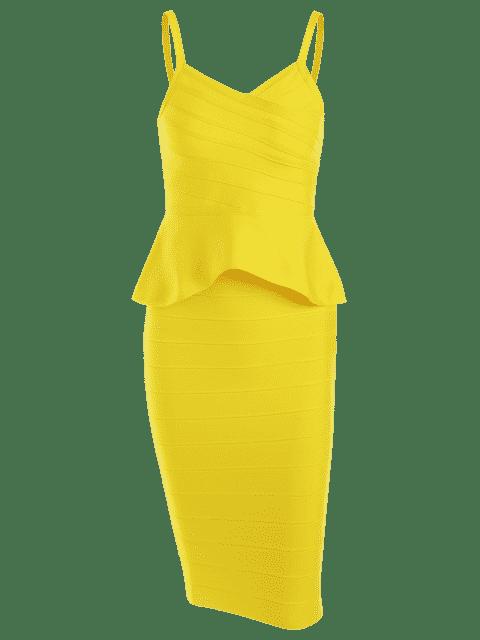 Flirt Cami Top et Ensemble de jupe de bandage - Jaune S Mobile