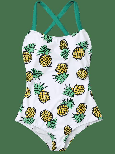 women Pineapple Print Cross Back Swimsuit - COLORMIX M Mobile