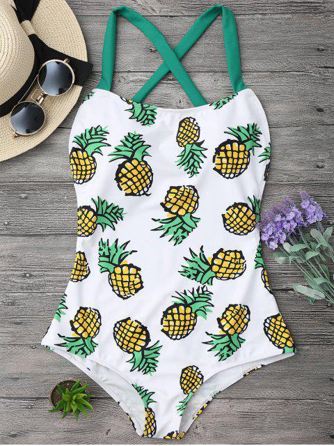 women's Pineapple Print Cross Back Swimsuit - COLORMIX L Mobile