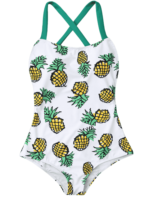 women's Pineapple Print Cross Back Swimsuit - COLORMIX L Mobile