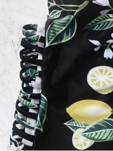 Tropical Print Side Cutout One Piece Swimsuit - Noir L Mobile