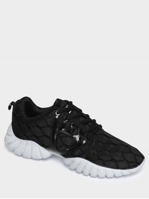 fancy Breathable Mesh Geometric Pattern Athletic Shoes - BLACK 38 Mobile