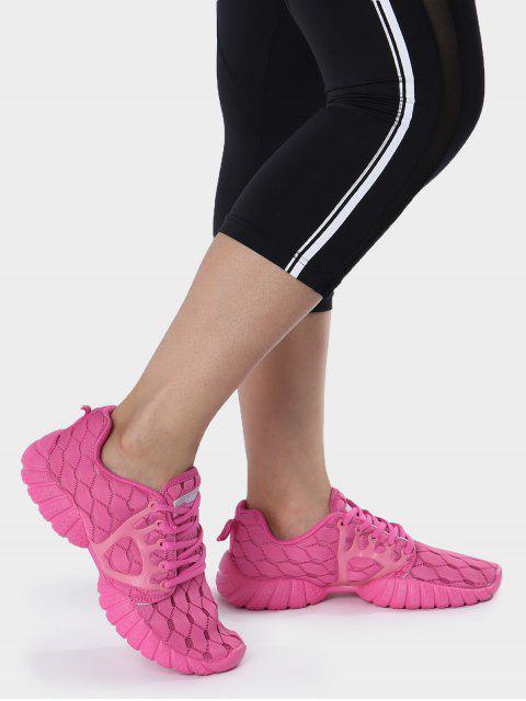 Zapatos deportivos del patrón geométrico de la malla transpirable - Rosa Roja 40 Mobile