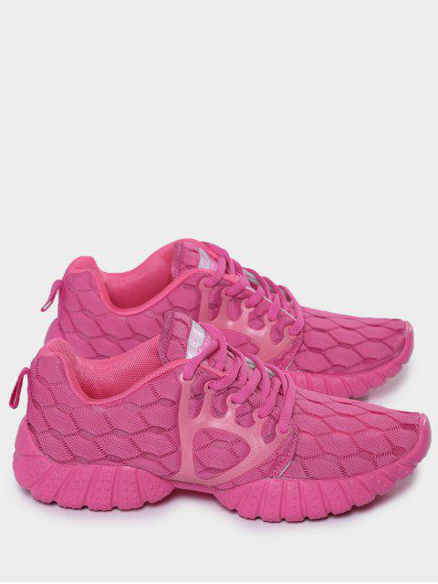 buy Breathable Mesh Geometric Pattern Athletic Shoes - ROSE RED 40 Mobile