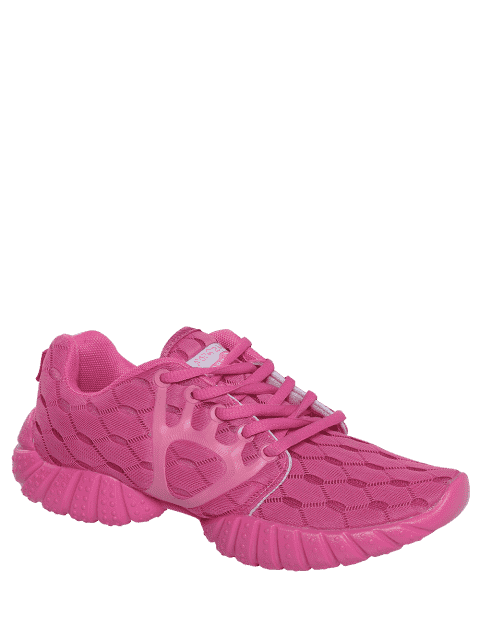 womens Breathable Mesh Geometric Pattern Athletic Shoes - ROSE RED 37 Mobile