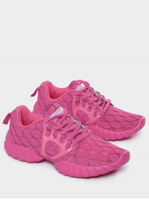 women Breathable Mesh Geometric Pattern Athletic Shoes - ROSE RED 38 Mobile