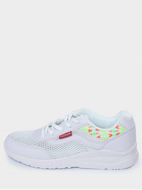 fashion Breathable Geometric Pattern Mesh Athletic Shoes - WHITE 39 Mobile