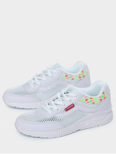 fancy Breathable Geometric Pattern Mesh Athletic Shoes - WHITE 40 Mobile