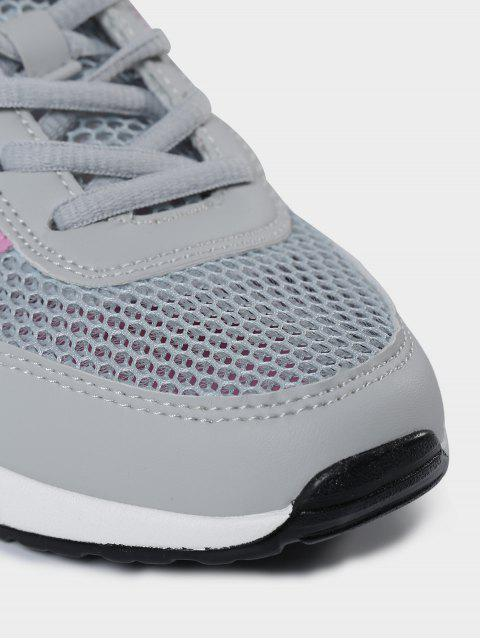 sale Breathable Geometric Pattern Mesh Athletic Shoes - GRAY 39 Mobile