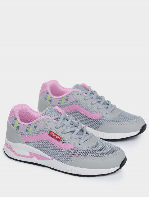 buy Breathable Geometric Pattern Mesh Athletic Shoes - GRAY 40 Mobile